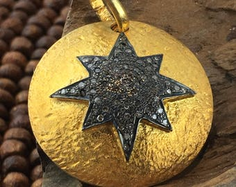 Gold Vermeil Pave Diamond Starburst Pendant ( use coupon code for discount )