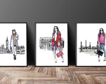 Set of 3, Set of 3 fashion, Set of 3 wall art, Set of 3 Fashion art, Set of 3 fashion prints, Fashion girl art, Fashion illustration