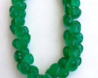 "1 Strand Natural Green Onyx 6mm  Faceted onion  shape  Gemstone Beads 8"" long strand By SHAMSHAD GEMS"