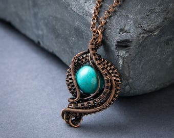 Turquoise Magnesite Pendant - Wire Wrapped Pendant - Copper Jewelry