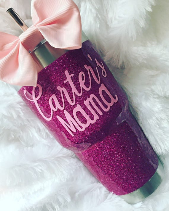 Glitter Yeti Rambler in Fuschia - with Lid & Bow!