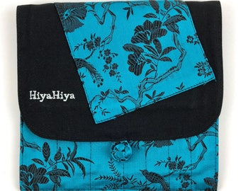 HiyaHiya Interchangeable Needle Case Teal or Blue Brocade 13 Needle Pockets 2-Zipper Pockets HiyaHiya Accessories Craft Interchangeable Case