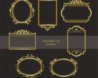 Ornamental gold frames Clipart,Gold frames Clipart,Gold vintage Clipart,Personal & Commercial use,Vector,Instant download Illustration_F3