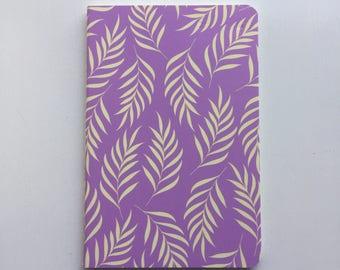 Lilac leaf print notebook
