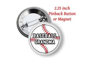 "2.25"" Baseball Grandma Button or Magnet"