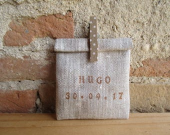 Pouch dragees customizable natural linen box, pouch, pouch with clothespin name Brown/caramel