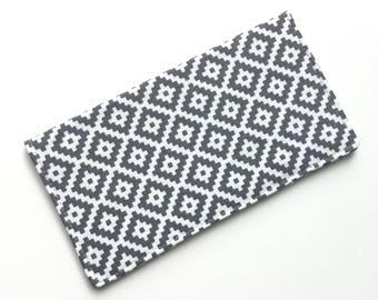 Checkbook cover, checkbook holder, wallet, receipt holder, gray diamond pattern