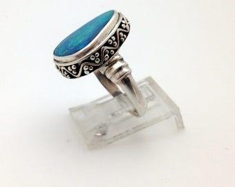 Australian Boulder Opal Ring, Sterling Silver