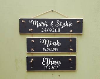 Family Name Sign, Family Members Wooden Wall Hanging, Children Name Sign, Wall Decor, Handpainted, Established Sign, Last Name Sign, Family