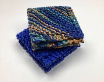Cotton Hand Knitted Dish Cloths, Set of 2