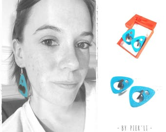 Earrings blue turquoise and black 3D