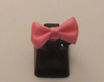 * CLEARANCE * ring Silver Pink bow (ba75)