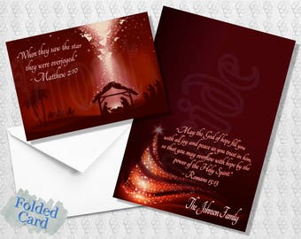 Religious Christmas Card; Holiday Card; Bible Verse; Maroon; Burgundy; Black; Printed; Digital; Folded; Postcard; Shipped