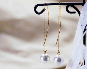 Long Cotton Pearl Threader Earrings