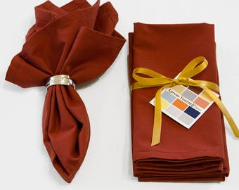 Rust Cotton Napkins Set of Four, 18 x 18 Solid Rust Napkins with Mitered Corners, Fall Napkins in Rust, Rust Napkins in Custom Sizes