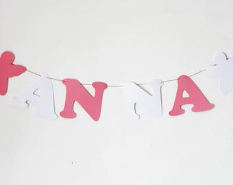 Garland name paper coated cotton - 4 letters + 2 Angels