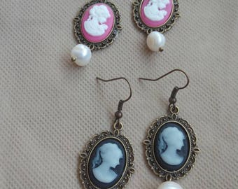 Vintage style cameo earrings pair and natural Pearl
