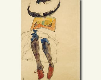 Printed On Textured Bamboo Art Paper - Seated Semi-Nude with Hat and Purple Stockings 1910 - Egon Schiele Print Schiele Poster Gift Idea  bp