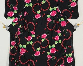 KM376 Vintage Japanese Yukata Kimono Womens Cotton Black Flower