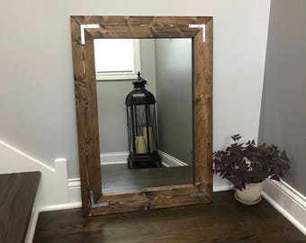 Rustic Farmhouse Mirror Country Wood Frame Bathroom Wall