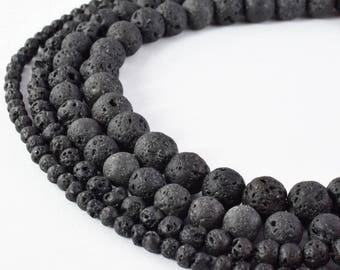 Natural Lava Stone Beads Round Black Color 4mm/6mm/8mm/10mm Gemstone Jewelry Loose Beads 15.5 inch Strand
