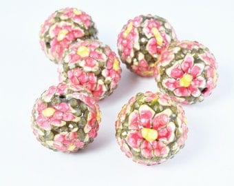 22mm Hot Pink Floral Print Resin Wooden Round Beads, Wooden beads, Wholesale Bead, Basketball Wives Bead,Rhinestone Beads,Resin beads