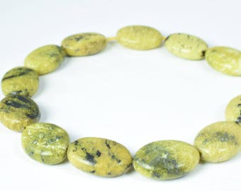 Size 14mm Serpentine Lime Green  Oval Agate Gemstone Beads 1 strand 16 PCs Hole Size 1mm Natural, healing, chakra, birthstone Jewelry Making