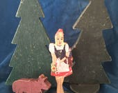 Red riding hoodgerman toy wooden toy 1940s fairy tale fairy tale toy wolf brothers grimm wooden playset hand made toy OOAK wood toy