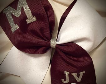 SQUAD or TEAM Cheer Bow GLITTER Bow~Squad discounts Cheer Bow with Text