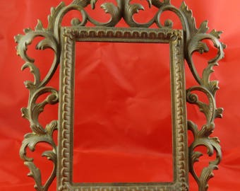Antique Victorian Cast Iron Easel Picture Frame Gold Gilt Marked Signed 118