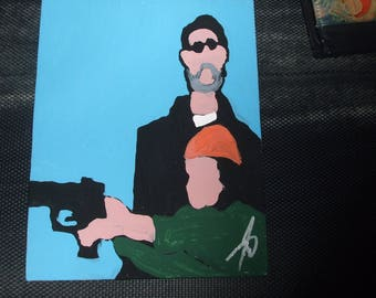 LEON THE PROFESSIONAL one of a kind hand painted art painting 8x10 canvas movie cult