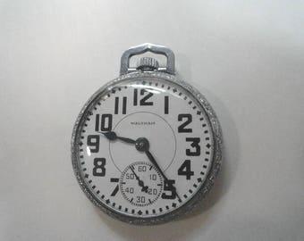 1931 Waltham 15 Jewel Pocket Watch Size 16 or 49mm Fancy Case Great Dial