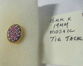 Vintage Mosaic Tie Tack Pin Gold Tone 15mm by 19mm