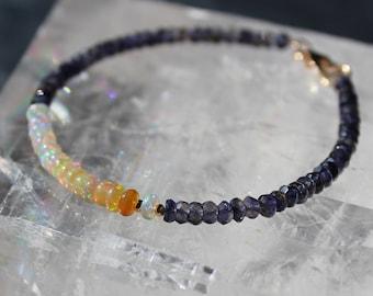 Opal Bracelet with Iolite, Ethiopian Opal Bracelet, Iolite Bracelet, Ethiopian Ombre, Gemstone Beaded Dainty Bracelet, October Birthstone