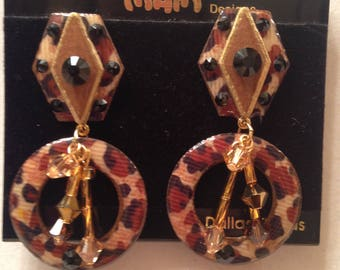 """Vintage Designer Mam' Collectors Animal Mix 'Hanging Dangles"""" W/ Swaovski Crystals & Jewels Dangle  Pierced And Clip Earrings"""
