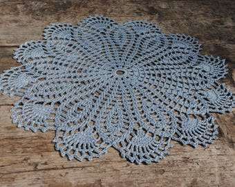 Crochet doily / Lace / Gray (color Nr.8) / 10.2 inches (26 cm)