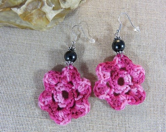 Crochet textile jewelry, jewelry, women earrings, cotton, large earrings, Flower Earrings, gifts for her pink earrings