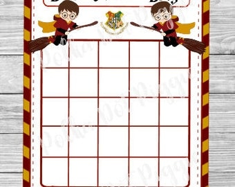 wizard kids harry potter baby shower bingo game instant digital