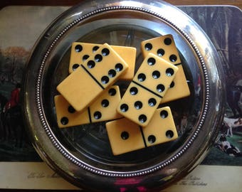 Six Thick Vintage Bakelite/Catalin Butterscotch Dominoes Each Piece Has a Lovely Cream Corn Patina