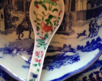 Chinese Four Seasons Qing/Republic Soup Spoon Famille Rose Export Porcelain with Hand Painted Enamel Decoration E. 20th Century