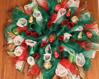Green with Multicolor Christmas Wreath