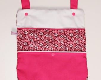 Pajamas, blanket etc storage bag. Pink and white cotton.