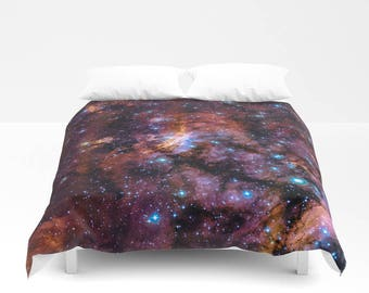 Duvet Cover, Galaxy Nebula Sky Stars Universe Bedding Cover, Outer Space Bedroom Decor, Home Decor, Prawn Nebula, King, Queen, Full