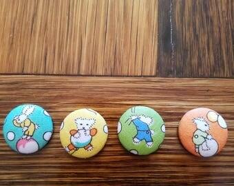 Adorable Animal Fabric Magnets set of 4