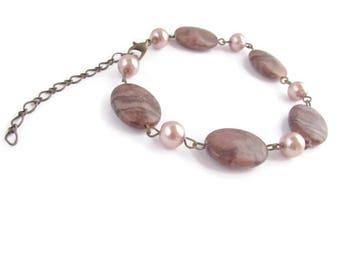 Bracelet marron, bracelet rose,  jaspe rouge, bracelet pierre, bracelet femme, bracelet perles