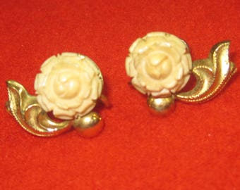 k-51   Antique Beautiful  Earrings 1/20 gold filled made by sorrento