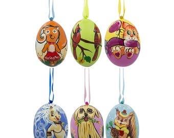 "3"" Set of 6, Dog, Cat, Cardinals Birds Wooden Christmas Ornaments"