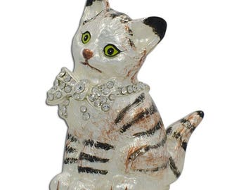 Maine Coon Cat with a Crystal Bow Jewelry Trinket Box Figurine