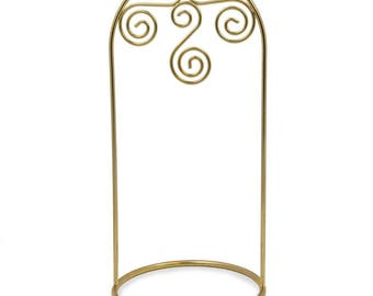 "7.75"" Arched Swirls Gold Tone Metal Ornament Stand"