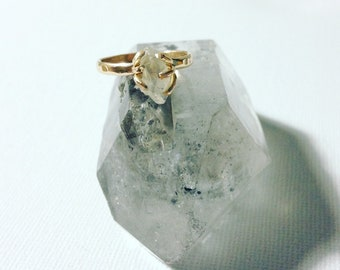 Gold Claw Set Rough Moonstone Ring